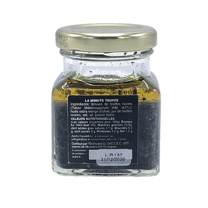 la minute truffe - chez bruno - sauce brisure de truffes noires 80gr - arriere