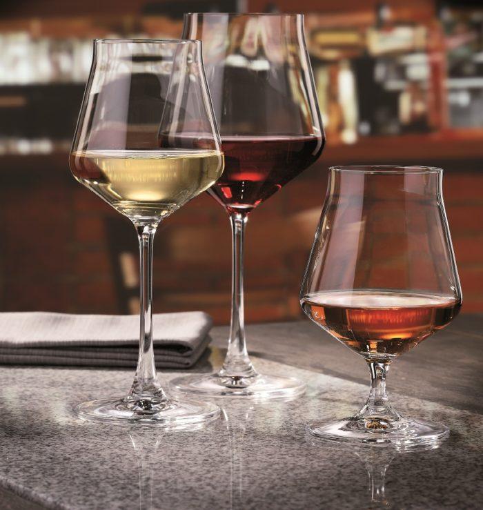 verre en cristal cognac et verre à vin - collection alca - maison cyna